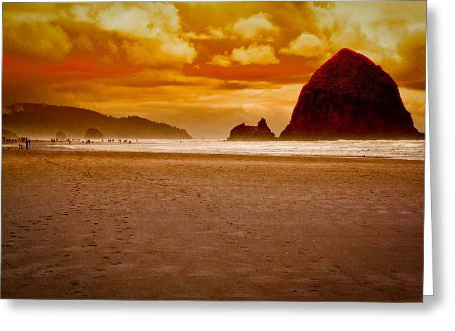 Monolith Greeting Cards - Sunset at Cannon Beach Greeting Card by David Patterson
