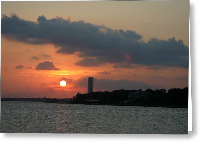 Photos Of Sunset Greeting Cards - Sunset at Clear Lake Greeting Card by Jack Pumphrey