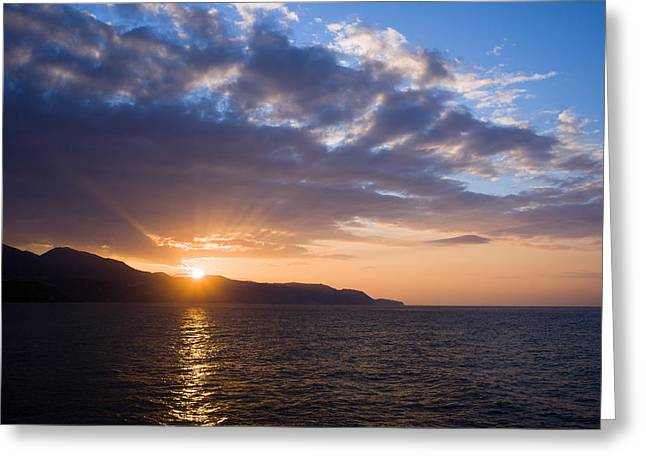 Peaceful Scene Greeting Cards - Sunset at Costa del Sol in Spain Greeting Card by Artur Bogacki