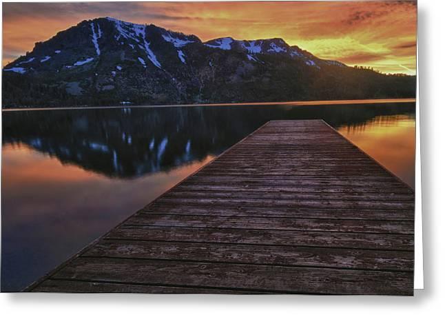 Fallen Leaf Lake Greeting Cards - Sunset at Fallen Leaf Lake Greeting Card by Jacek Joniec