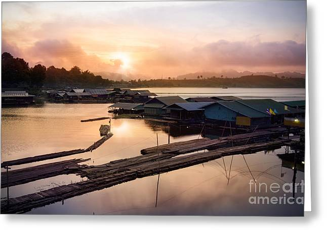 Seafarer Greeting Cards - Sunset At Fisherman Villages  Greeting Card by Setsiri Silapasuwanchai