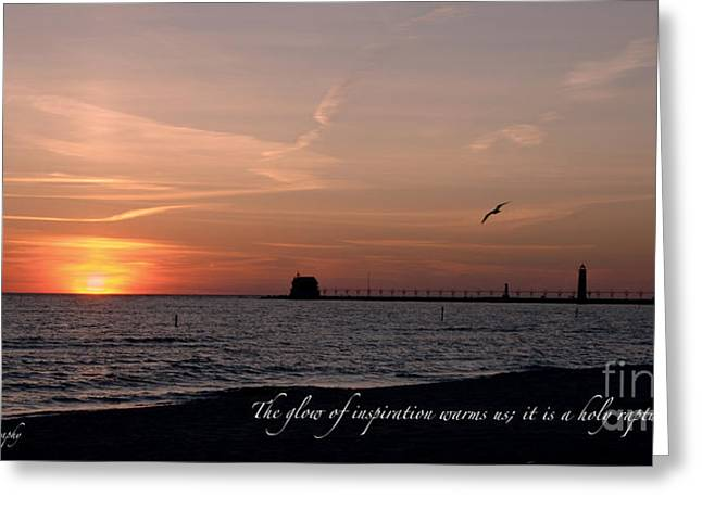 Michigan Jewelry Greeting Cards - Sunset at Grand Haven Light Greeting Card by Melissa Huber