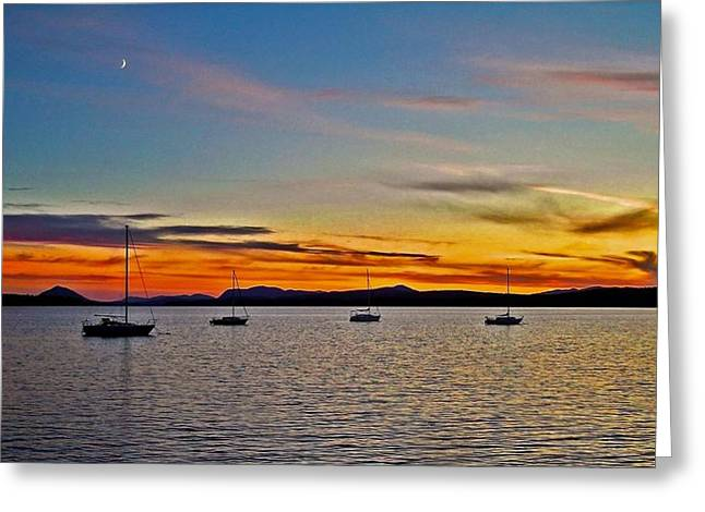 Sailer Greeting Cards - Sunset at Lake Memphremagog - QC Greeting Card by Juergen Weiss