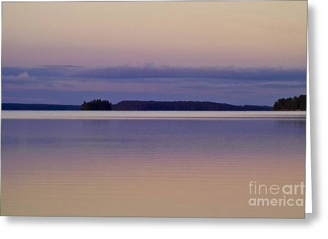 Sunset at Lake Muojaervi Greeting Card by Heiko Koehrer-Wagner