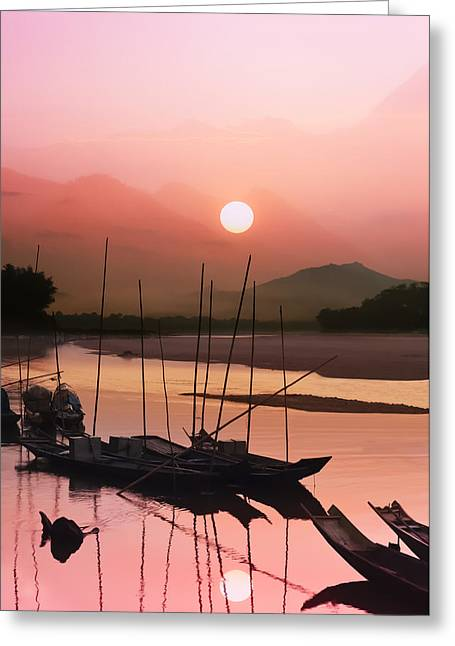 sunset at Mae Khong river Greeting Card by Setsiri Silapasuwanchai