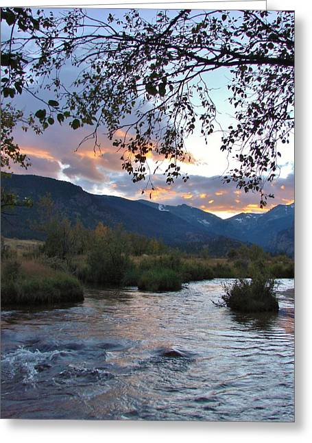 A River In Autumn Greeting Cards - Sunset at Moraine Park Greeting Card by Margaret Bobb