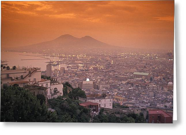 National Geographic - Greeting Cards - Sunset At Mount Vesuvius With Naples Greeting Card by Richard Nowitz