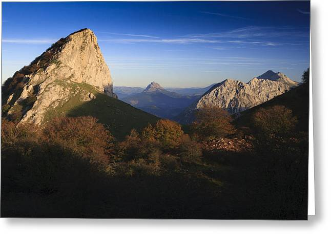 Rom Greeting Cards - Sunset at Mugarra mountain Greeting Card by Fernando Alvarez