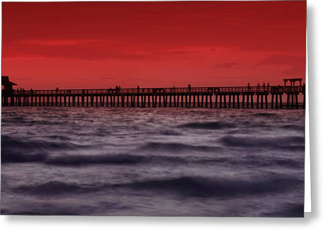 Summer Landscape Photographs Greeting Cards - Sunset at Naples Pier Greeting Card by Melanie Viola
