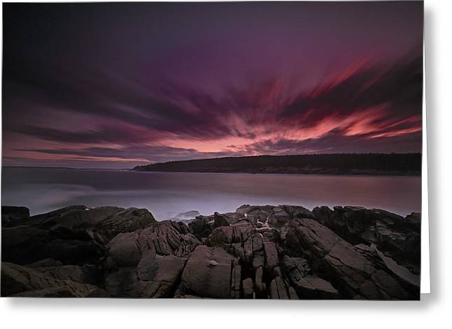 Storm Wave Greeting Cards - Sunset at Otter Point Greeting Card by Rick Berk