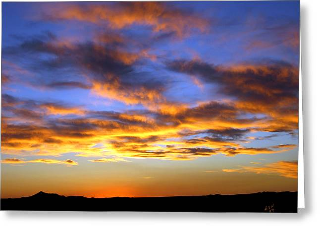 Las Cruces New Mexico Digital Art Greeting Cards - Sunset at Picacho Peak Greeting Card by Kurt Van Wagner