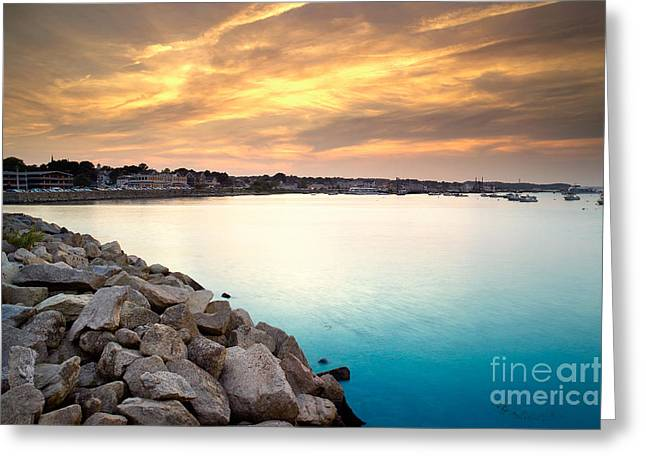Plymouth Rock Greeting Cards - Sunset at Plymouth Harbor Greeting Card by Matt Suess