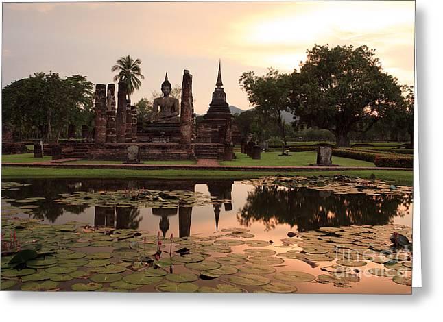 Reflex Greeting Cards - Sunset at Sukhothai  Greeting Card by Anek Suwannaphoom