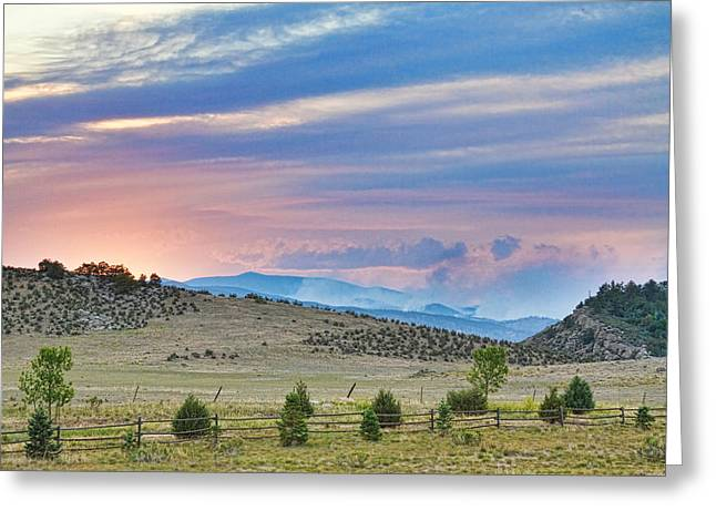 Fort Collins Photographs Greeting Cards - Sunset at the Colorado High Park Wildfire  Greeting Card by James BO  Insogna