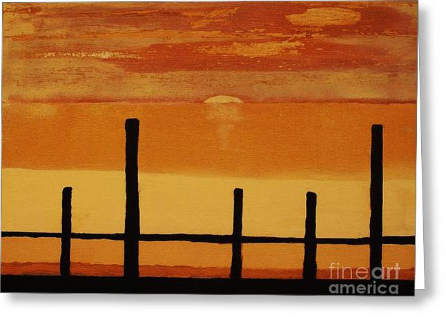 Seascape With Clouds Greeting Cards - Sunset At The Dock Of The Bay Greeting Card by Marsha Heiken
