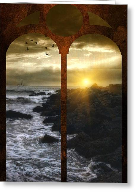 Sunset Seascape Greeting Cards - Sunset At The Jersey Shore Greeting Card by Tom York Images