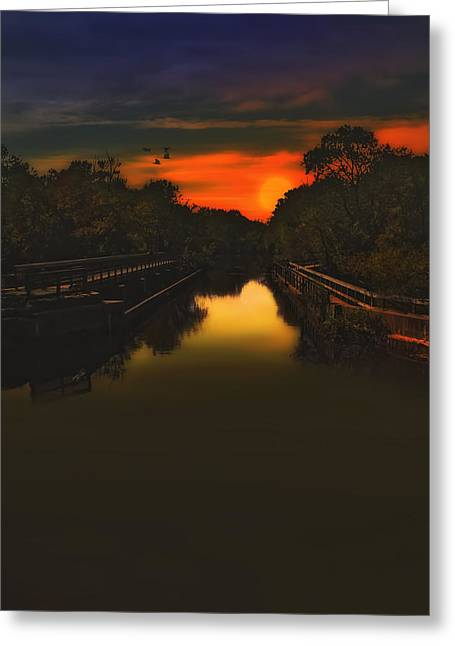 Sunset Posters Greeting Cards - Sunset At The Old Canal Greeting Card by Tom York Images