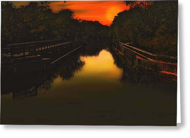 SUNSET AT THE OLD CANAL Greeting Card by Tom York Images