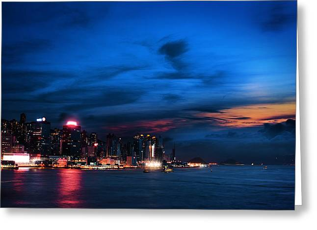 Kowloon Greeting Cards - Sunset at Victoria harbour Greeting Card by Afrison Ma