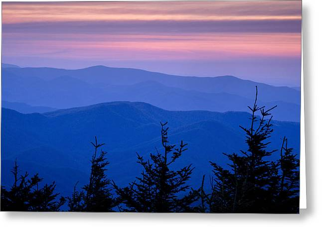 Blue Ridge Parkway Greeting Cards - Sunset atop the Eastern U.S. Greeting Card by Andrew Soundarajan