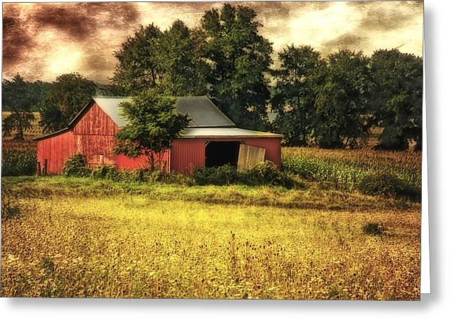 Wheat Field Sunset Print Greeting Cards - Sunset Barn Greeting Card by Mary Timman
