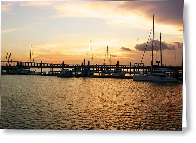 Boats At Dock Greeting Cards - Sunset bay Greeting Card by Robert Brown