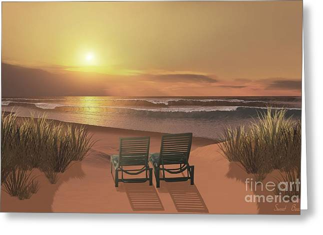 Lounge Paintings Greeting Cards - Sunset Beach Greeting Card by Corey Ford