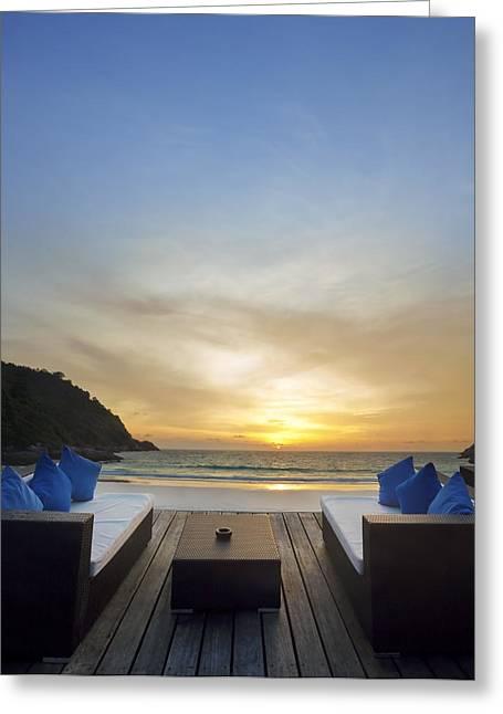 Enjoying Greeting Cards - Sunset Beach Greeting Card by Setsiri Silapasuwanchai