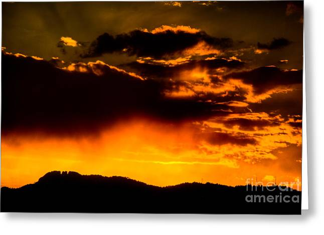 Fort Collins Greeting Cards - Sunset behind Horsetooth Rock Greeting Card by Harry Strharsky