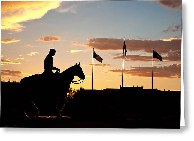 West Tx Greeting Cards - Sunset Behind Will Rogers and Soapsuds Statue at Texas Tech University in Lubbock Greeting Card by Ilker Goksen
