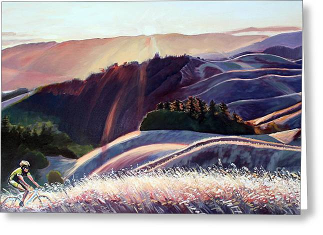 Marin County Greeting Cards - Sunset Bike Ride Greeting Card by Colleen Proppe