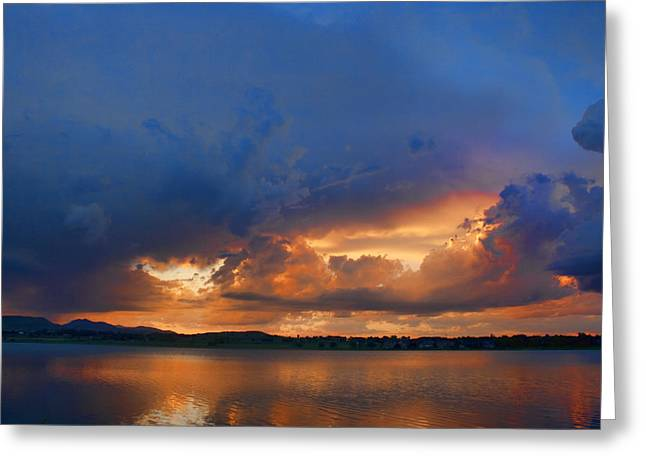 Lightning Photographs Greeting Cards - Sunset Blues Greeting Card by James BO  Insogna