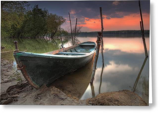 Stake Greeting Cards - Sunset Boat Greeting Card by Evgeni Dinev