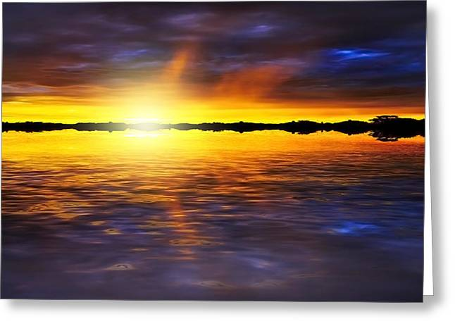 Abstract Seascape Mixed Media Greeting Cards - Sunset by the River Greeting Card by Svetlana Sewell