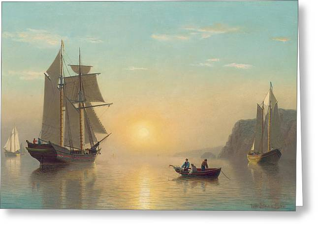 Sail Greeting Cards - Sunset Calm in the Bay of Fundy Greeting Card by William Bradford