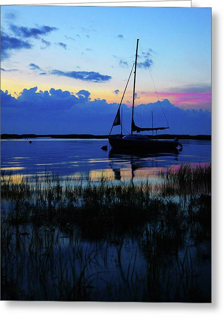 Blue Sailboats Greeting Cards - Sunset Calm Greeting Card by Rick Berk