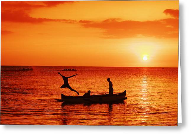 Vince Greeting Cards - Sunset Canoe Jump Greeting Card by Vince Cavataio - Printscapes
