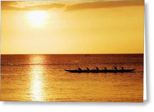 Vince Greeting Cards - Sunset Canoe Greeting Card by Vince Cavataio - Printscapes