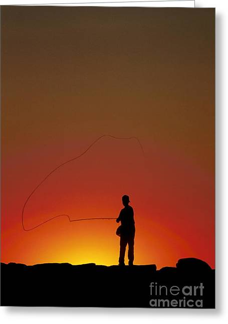 Boyhood Greeting Cards - Sunset Casting Greeting Card by John Greim
