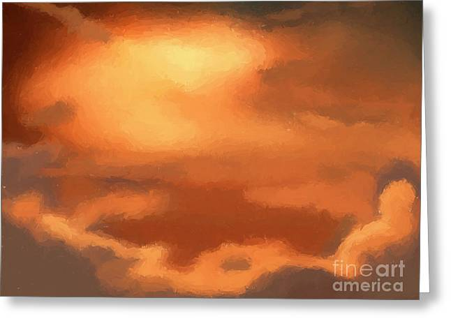 Sunset clouds Greeting Card by Pixel Chimp
