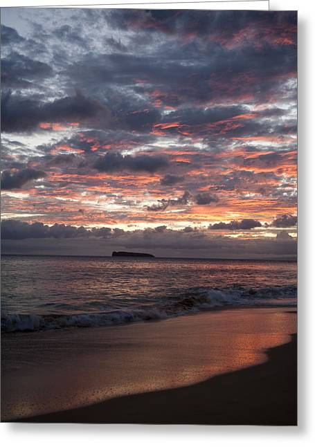Peter French Greeting Cards - Sunset Colors at Makena Greeting Card by Peter French - Printscapes