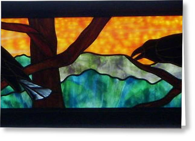 Sunset Glass Art Greeting Cards - Sunset Crows Greeting Card by Jane Croteau