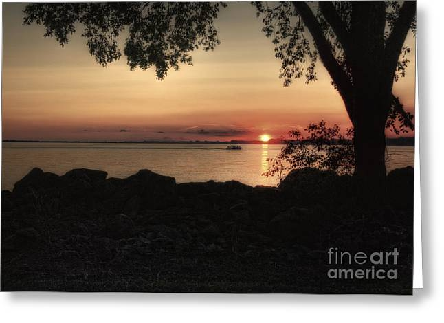 Boat Cruise Greeting Cards - Sunset Cruise Greeting Card by Pamela Baker