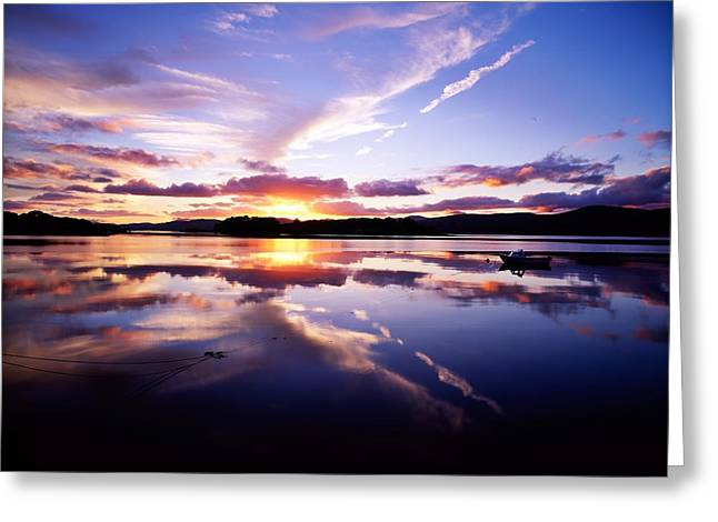 Reflection Of Sun In Clouds Greeting Cards - Sunset, Dinish Island Kenmare Bay Greeting Card by The Irish Image Collection