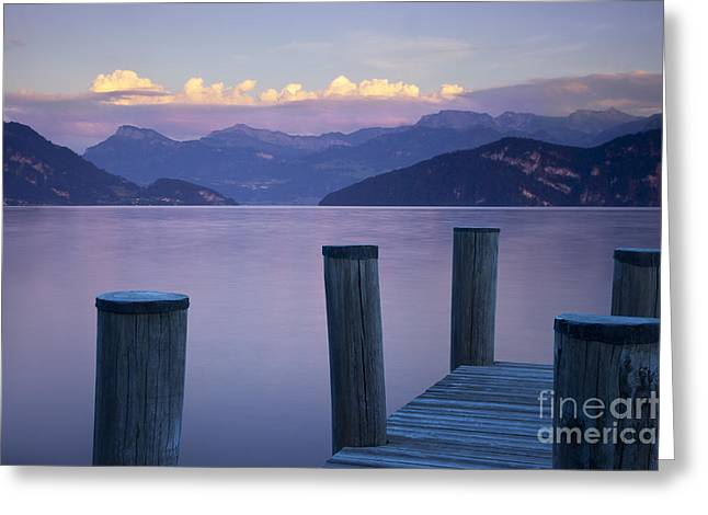 Luzern Greeting Cards - Sunset Dock Greeting Card by Brian Jannsen