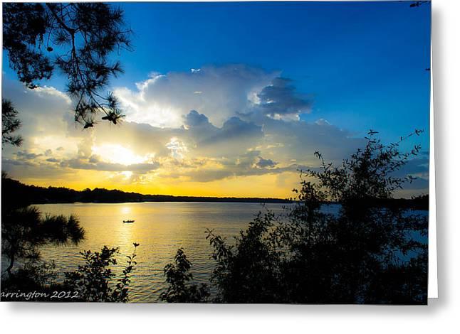Sunset Fishing Greeting Card by Shannon Harrington