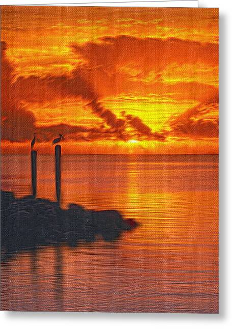 Unset Greeting Cards - Sunset Florida Keys - 5 Greeting Card by Larry Mulvehill
