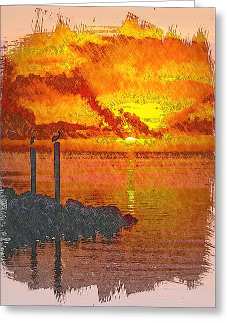 Unset Greeting Cards - Sunset Florida Keys - 8 Greeting Card by Larry Mulvehill