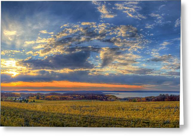 Traverse City Greeting Cards - Sunset from Old Mission Greeting Card by Twenty Two North Photography
