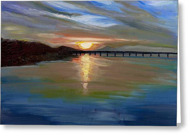 Arkansas Paintings Greeting Cards - Sunset from the Big Dam Bridge Greeting Card by Cathy France